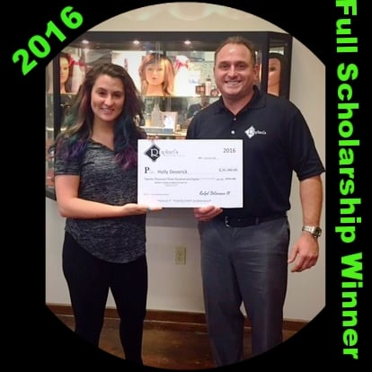 Holly Devorick, 2016 scholarship winner being presented with the scholarship certificate at Raphael's.