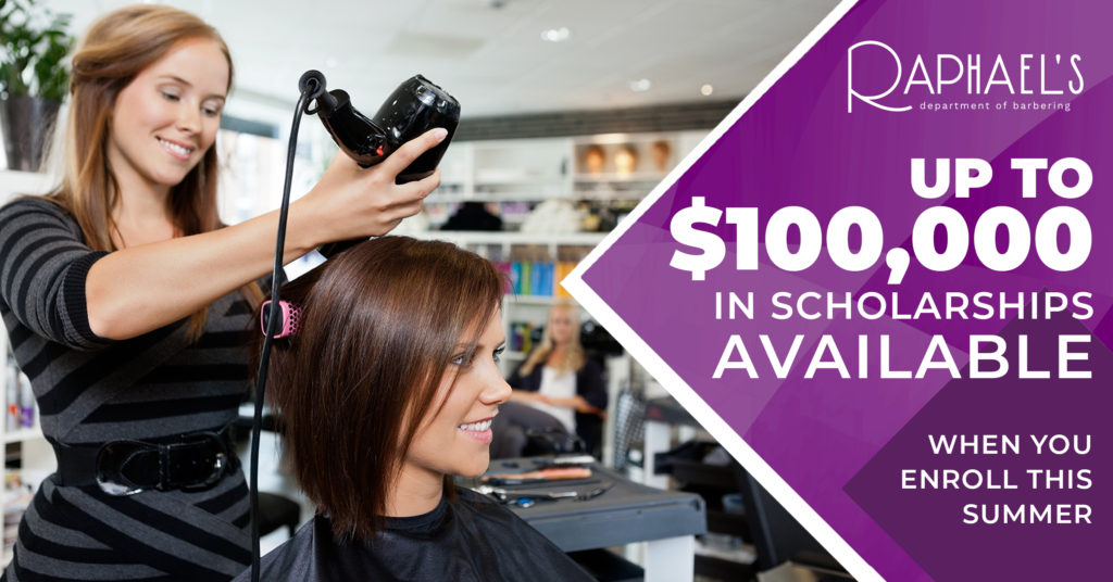 woman styling another woman's hair in a salon with text describing summer scholarships
